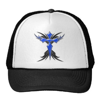 Blue Winged Cross Mesh Hat