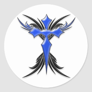 Blue Winged Cross Round Sticker