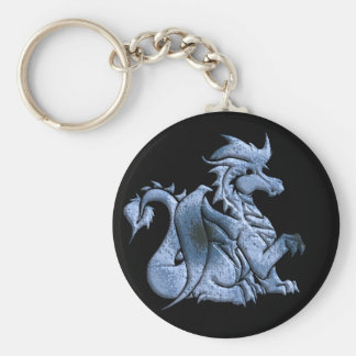Blue Winged Dragon Black Keychain