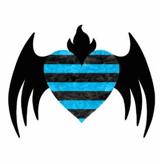 Blue winged heart statuette