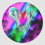 blue winged  heart stickers