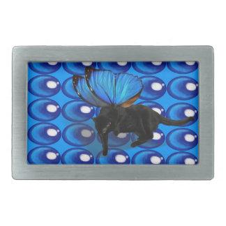 blue winged kitten fairy glass bead belt buckle