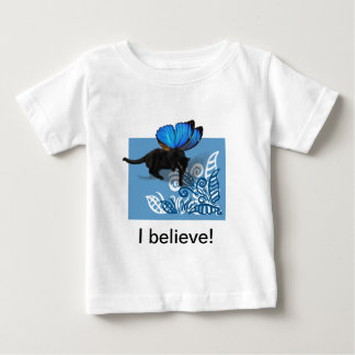 Blue winged kitty fairy hunt in leaves baby T-Shirt