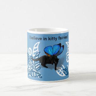 Blue winged kitty fairy hunt in leaves coffee mug