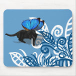 Blue winged kitty fairy hunt in leaves mouse pad
