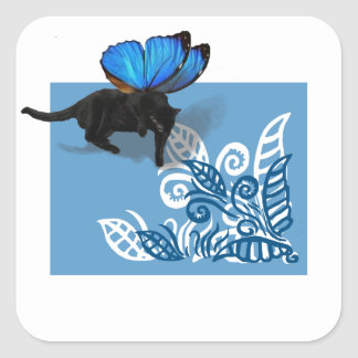 Blue winged kitty fairy hunt in leaves square sticker