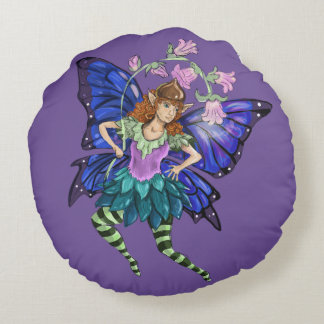 Blue Winged Pixie Round Pillow