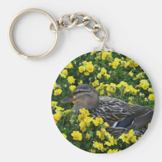 Blue Winged Teal Duck and Yellow Flowers Keychain