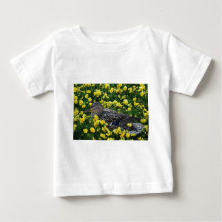 Blue Winged Teal Duck and Yellow Flowers Tshirt