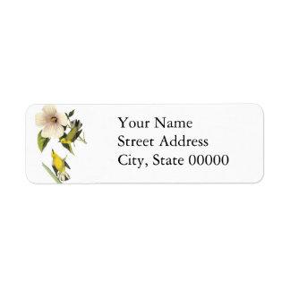 Blue-winged Warbler John Audubon Return Address Label