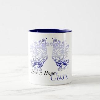 Blue Wings : Love Hope Cure Rheumatoid Arthritis Two-Tone Coffee Mug