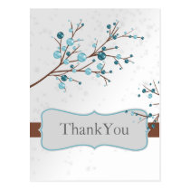 Blue Winter Berries,  Winter Wedding Stationery Postcard