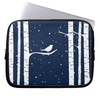 Blue Winter Birch Trees and Bird Laptop Sleeve