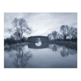 Blue winter canal landscape postcard