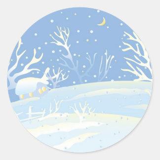 Blue Winter Classic Round Sticker