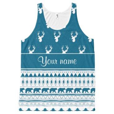 Aztec Themed Blue Winter Deer Tribal Aztec Pattern All-Over-Print Tank Top