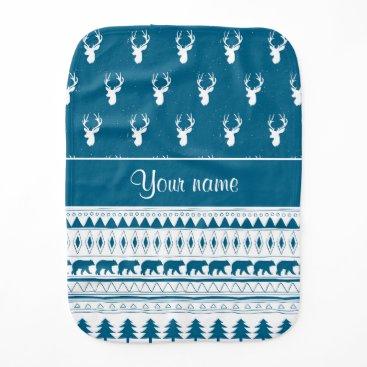 Aztec Themed Blue Winter Deer Tribal Aztec Pattern Burp Cloth