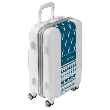 Aztec Themed Blue Winter Deer Tribal Aztec Pattern Luggage