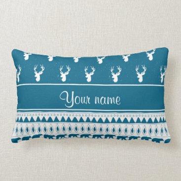 Aztec Themed Blue Winter Deer Tribal Aztec Pattern Lumbar Pillow