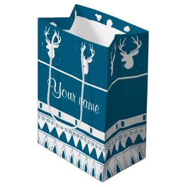 Aztec Themed Blue Winter Deer Tribal Aztec Pattern Medium Gift Bag