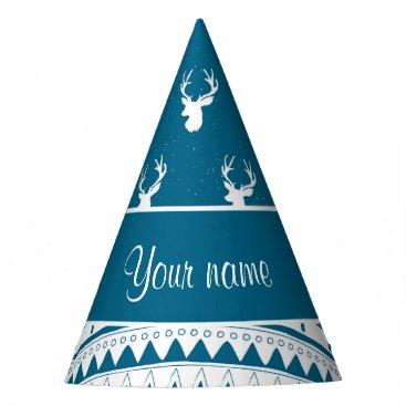 Aztec Themed Blue Winter Deer Tribal Aztec Pattern Party Hat