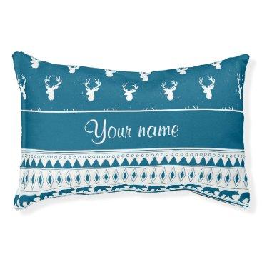 Aztec Themed Blue Winter Deer Tribal Aztec Pattern Pet Bed