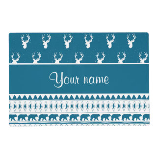 Blue Winter Deer Tribal Aztec Pattern Placemat