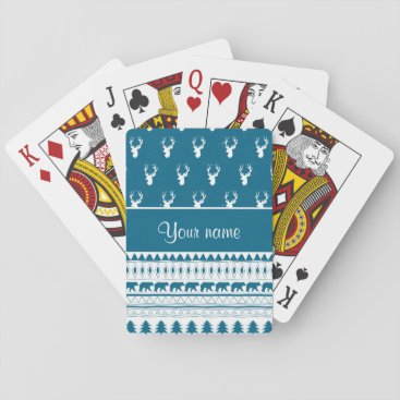 Aztec Themed Blue Winter Deer Tribal Aztec Pattern Playing Cards