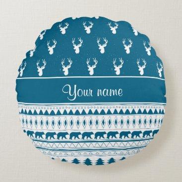 Aztec Themed Blue Winter Deer Tribal Aztec Pattern Round Pillow