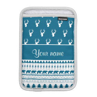 Blue Winter Deer Tribal Aztec Pattern Sleeve For iPad Mini