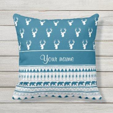 Aztec Themed Blue Winter Deer Tribal Aztec Pattern Throw Pillow