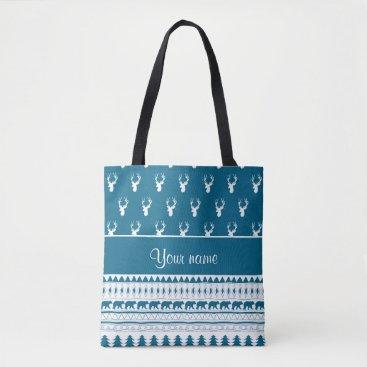 Aztec Themed Blue Winter Deer Tribal Aztec Pattern Tote Bag