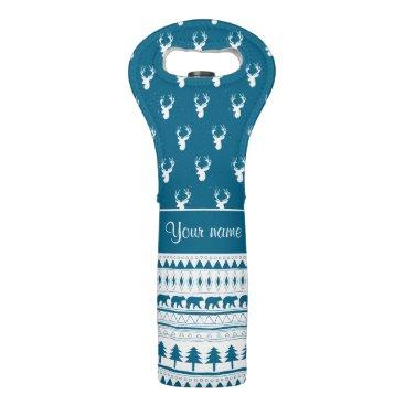 Aztec Themed Blue Winter Deer Tribal Aztec Pattern Wine Bag