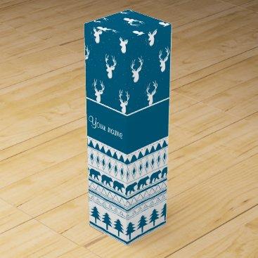 Aztec Themed Blue Winter Deer Tribal Aztec Pattern Wine Gift Box
