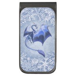 Blue Winter Dragon Fantasy Nature Art Gunmetal Finish Money Clip