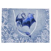 Blue Winter Dragon Fantasy Nature Art Large Gift Bag