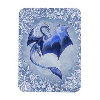 Blue Winter Dragon Fantasy Nature Art Magnet