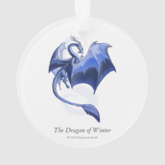 Blue Winter Dragon Fantasy Nature Art Ornament