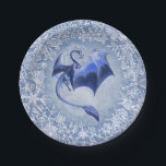 "Blue Winter Dragon Fantasy Nature Art Paper Plate<br><div class=""desc"">Looking for more gifts, stationery, clothing, and housewares? A flying blue dragon celebrates the winter season, spreading its wings against a backdrop of bright snowflakes. Combining fantasy and nature art, The Dragon of Winter was drawn by hand with ink on paper and then colored digitally. Copyright &#169; 2010 Stephanie Smith;...</div>"