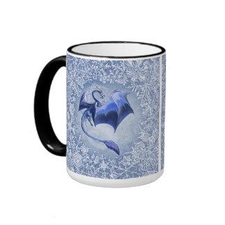 Blue Winter Dragon Fantasy Nature Art Ringer Mug