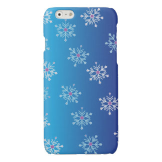 Blue Winter Falling Snowflakes Abstract Pattern Glossy iPhone 6 Case