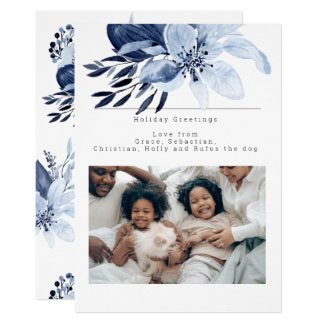 Blue Winter Flower Bloom Photo Personalized Card