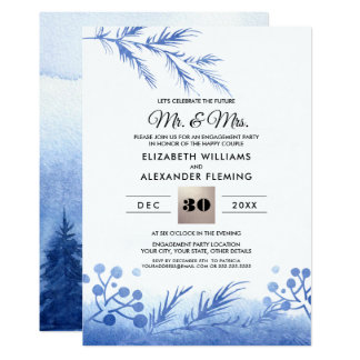 Blue Winter Forest Engagement Party Invitations