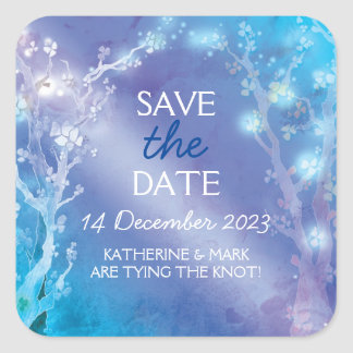 Blue Winter Forest Wedding Save the Date Square Sticker