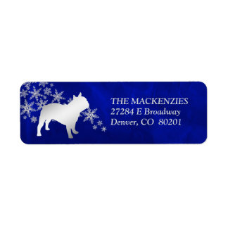 Blue Winter French Bulldog Return Address Label