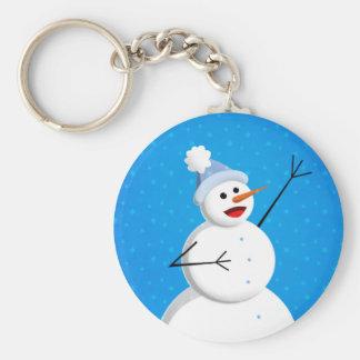 Blue Winter Happy Snowman Keychain
