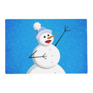 Blue Winter Happy Snowman Placemat