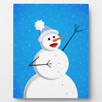Blue Winter Happy Snowman Plaque
