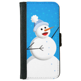 Blue Winter Happy Snowman Wallet Phone Case For iPhone 6/6s