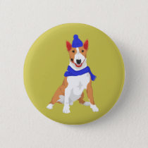Blue Winter Hat and Shawl Miniature Bull Terrier Button